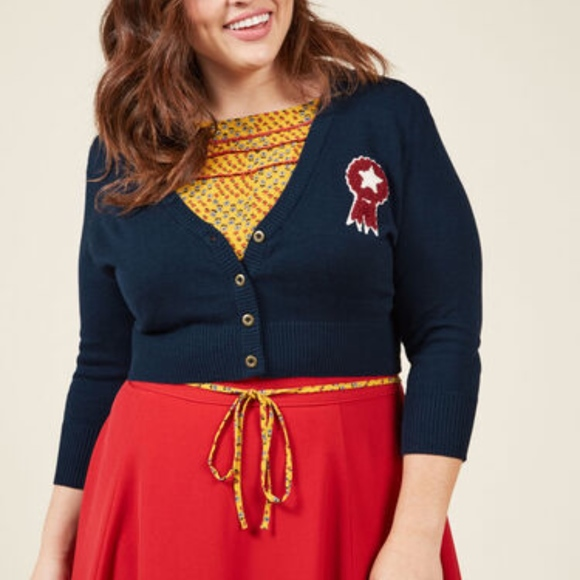 Modcloth Sweaters - Modcloth Cropped Cardigan with Ribbon Patch Large